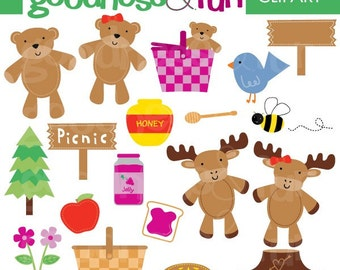Buy 2, Get 1 FREE - Picnic Time Clipart - Digital Picnic Clipart - Instant Download