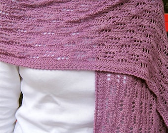 Knit Wrap Pattern:  Easy Eyelet Lace Shawl Knitting Pattern