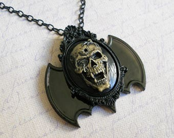 Gothic Lolita vampire cameo with bat wings necklace