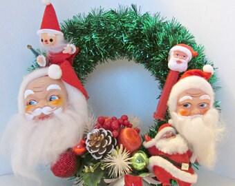 Tinsel Wrapped Vintage Kitsch Santa Wreath