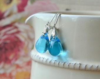 Pale Blue Earrings, Tear Drop Earrings, Light Blue Earrings, Czech Glass Earrings, Blue Dangle Earrings, Leverback Earrings, Gift for Women