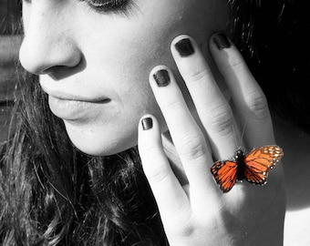 Monarch Butterfly Ring, Little Orange and Black Feathers, Bridesmaids Gift, Woodland Wedding, by Smash Gardens on Etsy