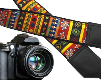 Aztec Camera strap. Tribal camera strap. Multi-color. Ethnic Camera strap.  DSLR/ SLR Camera Strap. Camera accessories by InTePro