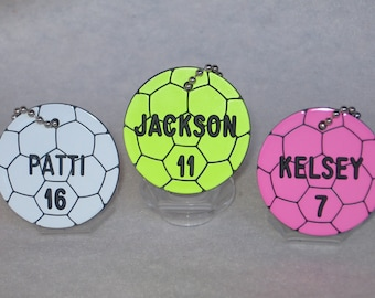 Personalized Soccer Gifts / Soccer Team Gifts / Soccer Bag Tags / Soccer Coach Gifts