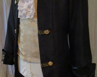 """Men's Black Pirate Colonial or Rococo Frock Coat  Black Leather-Lk  Cuffs 38"""""""