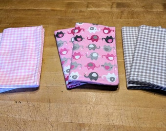 Set of six elephant/gingham print flannel burp cloths in pink and gray