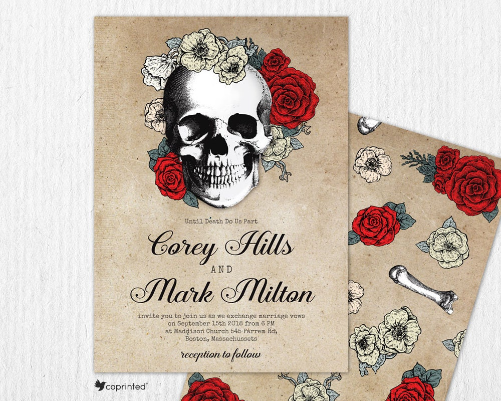 Skull Theme Wedding Invitation Death Wedding Invitation