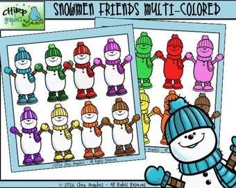 Snowman Friends Multi-Color Clip Art Set - Chirp Graphics