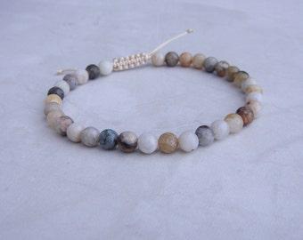 bamboo agate bead bracelet 6mm