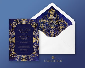 Castlefield Blue Gold Baroque Rococo Flourishes Starry Watercolor Wedding Event Invitation RSVP Stationery Customized Printable Luxury