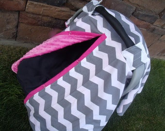 Carseat Canopy Minky Grey Chevron Blanket Cover car seat canopy car seat cover