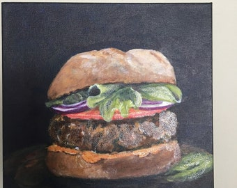 "Acrylic original ""Cheeseburger"" 12"" by 12"""