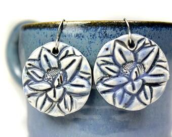 Lotus Earrings in Blues