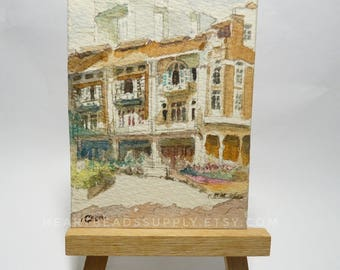 Original Aceo, Brick Houses, Singapore, Street scene, watercolor painting, atc id20170424 old architecture miniature art landscape