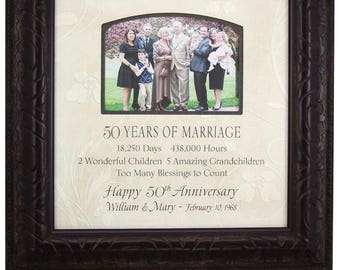 50th Anniversary Gift for Parents, 50th Anniversary Gift for Grandparents, 50 Years of Marriage Anniversary Gift, 16x16