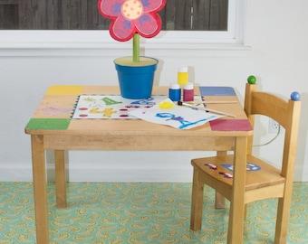 "Splat Mat/Tablecloth ""Turquoise Paisley"" - Laminated Cotton BPA  & PVC Free - Choose Your Size below!"