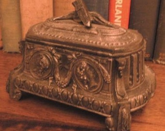 vintage office ...   Rare Stunning COFFIN Tomb styled Art Nouveau  INKWELL with double Ink Pots  ink well ...