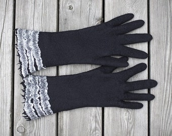 Felted black gloves long with white wrist stripped lace gloves women arm warmers winter merino wool gloves Christmas gift made to Order