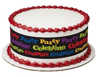 Grad Party Celebrate Edible Cake Side Image Strips