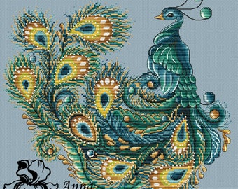 Peacock Cross Stitch Pattern PDF Instant Download Embroidery Cute Wall Decor Finished Work Photo Available