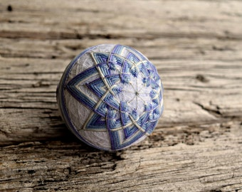 Hand Embroidered Japanese Temari Ball, Purple and Silver Temari, Traditional Hand Embroidery, Kiku Temari, Japan Folk Art Ball Lavender Star