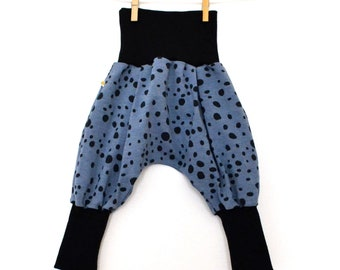 Baby harem pants, harem scalable Kids Jersey organic blue black polka dots (from 6/12 months to 18/24 months)