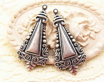Antiqued Silver Ox Art Deco Scroll Embossed Triangle Earring Dangles, Drops, Charms Pendants - 4