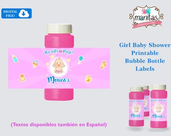 Baby Shower Favors Printable Bubble Bottle Labels - Baby Shower Bubble Bottle Labels - Baby Shower Girl