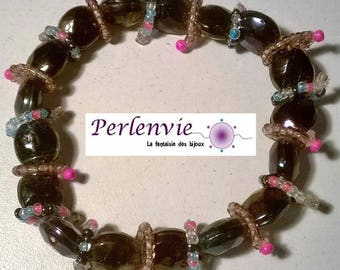 elastic bracelet purple and small beads seed beads