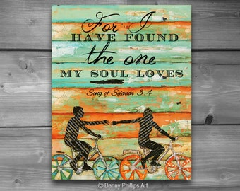 PRINTABLE, Song of Solomon 3:4, Danny Phillips art, Christian print, Scripture,Couple, Love,wedding gift,engagement print, Bicycle art, 8x10