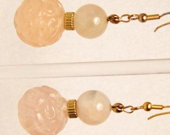 2.5 Inch Carved Rose Quartz Earrings