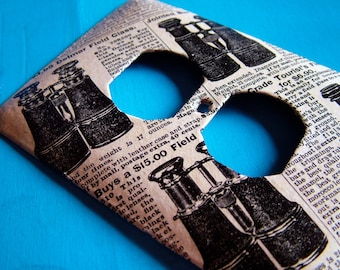 LOOK OUT!- upcycled outlet cover (with vintage 1969 Sears and Roebuck catalog imagery of binoculars)