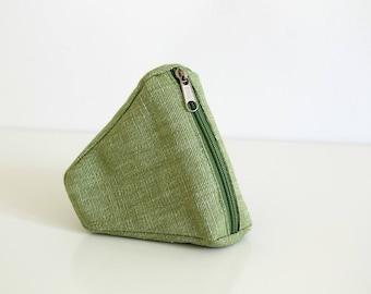 Petite pochette de coton, pochette verte, porte monnaie, organisateur mini, poche fermeture éclair, mini sac, sac pochette, sac à main clé - la pochette de Sushi vert