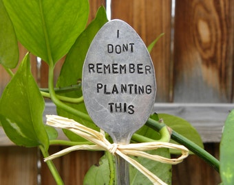 I dont remember planting this garden pick - hand stamped spoon - plant marker - garden marker for your planter bed - re-purposed spoon