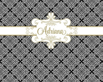 BLACK and GOLD DAMASK Printable Party 72x39 Backdrop - You Print