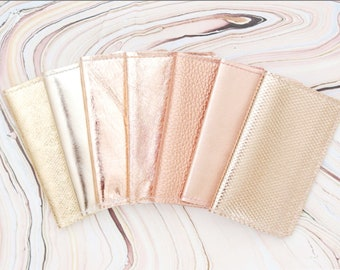 Natural leather credit card wallet- Choose your color - Business card case-Double credit card holder-Metallic leather-Rose gold metal