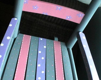 Child Rocking Chair- Kid Rocking Chair- Small Rocker-Polka Dot Patterned- Personalized Hand Painted Rocking Chair