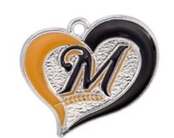 Milwaukee Brewers Heart Charm