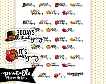 Thanksgiving Countdown PRINTABLE planner Stickers   Pdf, Jpg, Png   Instant Download