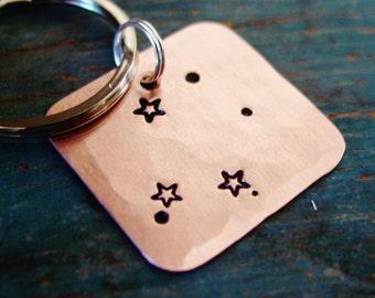Libra Gift, Zodiac Constellation Keychain, Stamped Keychain, Copper or Silver Nickel, Libra Star Sign, October Birthday, September Birthday
