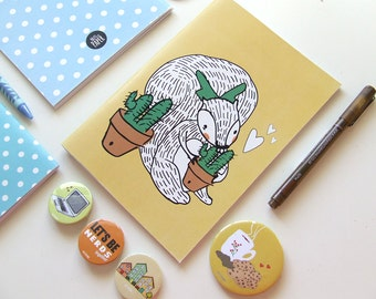 Squirrel Cactus Lover - Blank A5 Notebooks - Journal