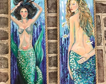 Mermaids, Set of 2 Original Acrylic Paintings on Canvas With Rope Frame