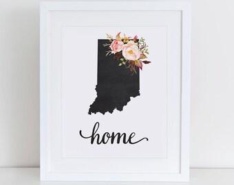 Indiana Art Print, Indiana Printable Art Print, Instant Download, Indiana Wall Art, 8x10 Art Print, Indiana Art Print Wall Decor