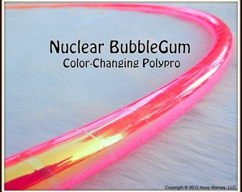 "NeW - CoLoR-CHaNGiNG Polypro Hula Hoop - 'NuCLeAR BuBBLeGUM' - 3/4"" OR 5/8"" THiN! Free Inside Grip Option."