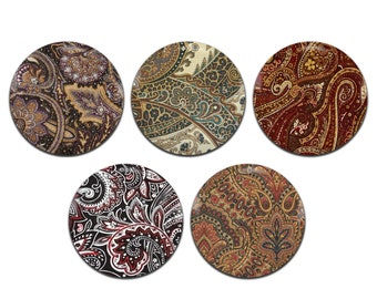 5x Paisley Psychedelic Patterns Hippie 25mm / 1 Inch D Pin Button Badges