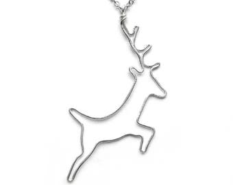 Deer Necklace, Gift for Hiker, Animal Lover Gifts, Unusual Necklace, Nature Lover Gift, Mountain Necklace, Best Friend Gift, Sister Gift
