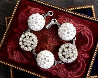 Antique Button Bracelet vintage rhinestone bridal antique oldnouveau jewelry up cycled repurposed retro bling stunning statement  silver