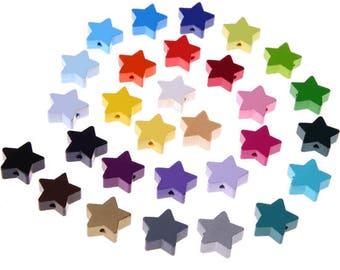 Little star wooden bead