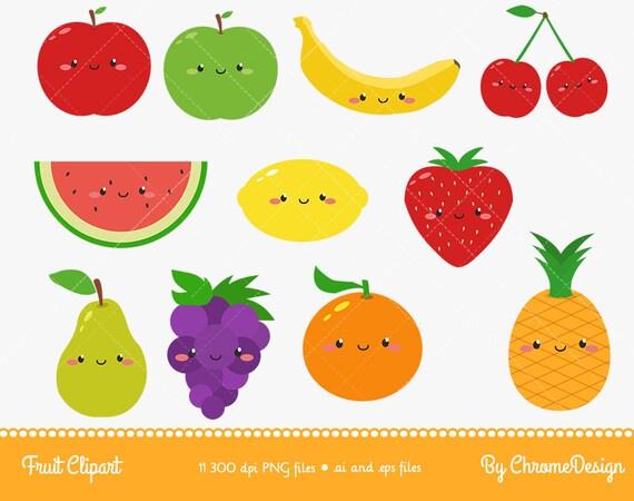 Cute Fruits Cartoon Clipart Instant Download
