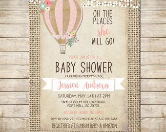 Hot Air Balloon Invitation Baby Girl Shower Invitation, Shabby Chic, Pink _149